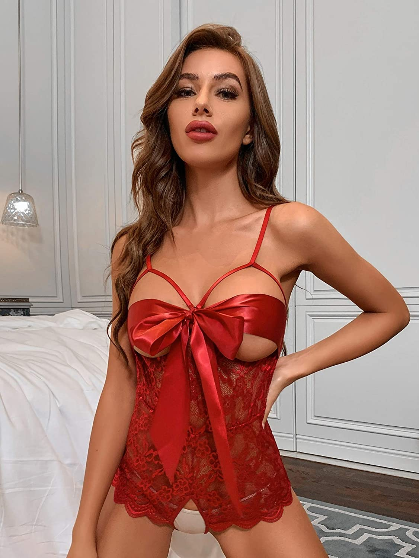 SOLY HUX Womens Floral Lace Scalloped Trim Lingerie Teddy Bodysuit