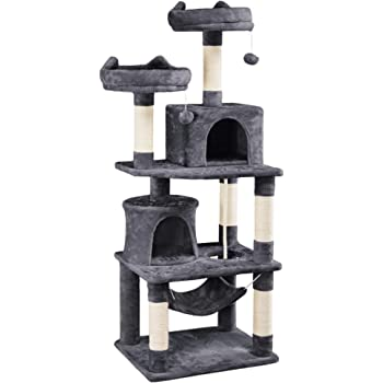 YAHEETECH 62.2 inches Cat Tree Cat Towers Cat Condo with Platform & Hammock, Scratching Posts for Kittens Pet Play House with Plush Perch for Indoor Activity Relaxing