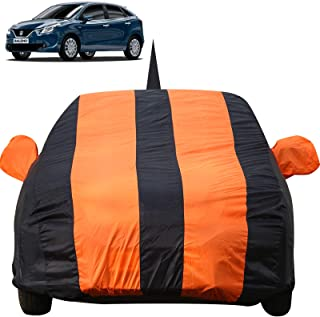 Autofact Car Body Cover for Maruti Baleno (2015 to 2019) with Mirror and Antenna Pocket (Light Weight, Triple Stitched, Heavy Buckle, Bottom Fully Elastic, Orange Stripes with Navy Blue Color)
