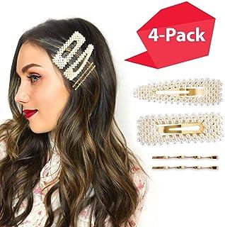 Hawwwy Elegant Large Pearl Barrettes and Gold Hair Pins for Women Girls, Cute Hair Clips Hainpin, Lindas Pinzas de Perla P...