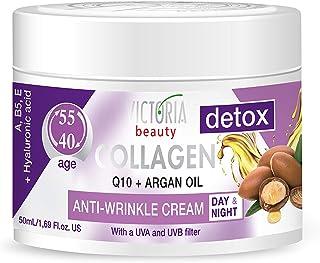 Skin Care Detox Day and Night Face Cream Anti-Aging Moisturiser with Collagen, Hyaluronic Acid, Q10, Argan ...