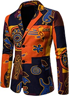 Men's Fashion Ethnic Style African Print Dashiki Jacket Coat Casual Business Blazer