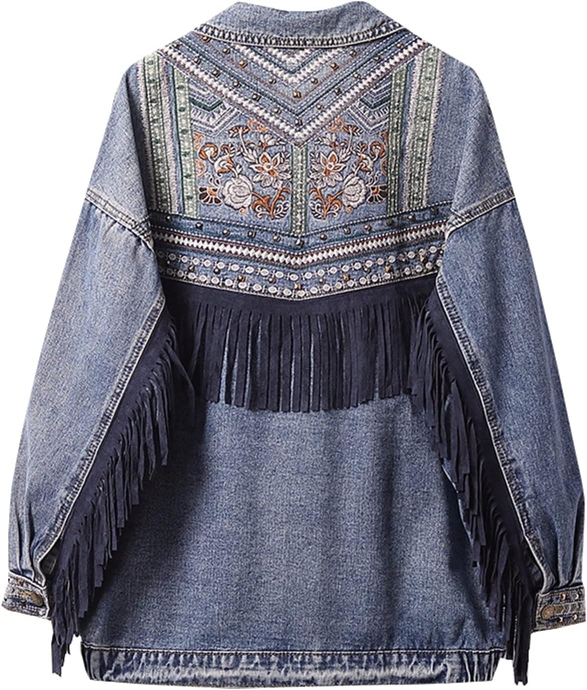 Zzalo Denim Jacket Korean Floral Embroidery Suede Fringe Loose Coat Long Sleeve Outerwear Jacket Women Jacket (Color : Blue, Size : Large)