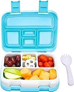 Redlemon Lonchera para Niños Tipo Bento Box de 5 Divisiones, Sellado Hermético Antiderrames, con Recipiente para Comida De...