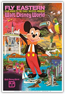 Walt Disney World - Fly Eastern Airlines - Orlando, Florida - Vintage Airline Travel Poster c.1980 - Master Art Print - 13in x 19in