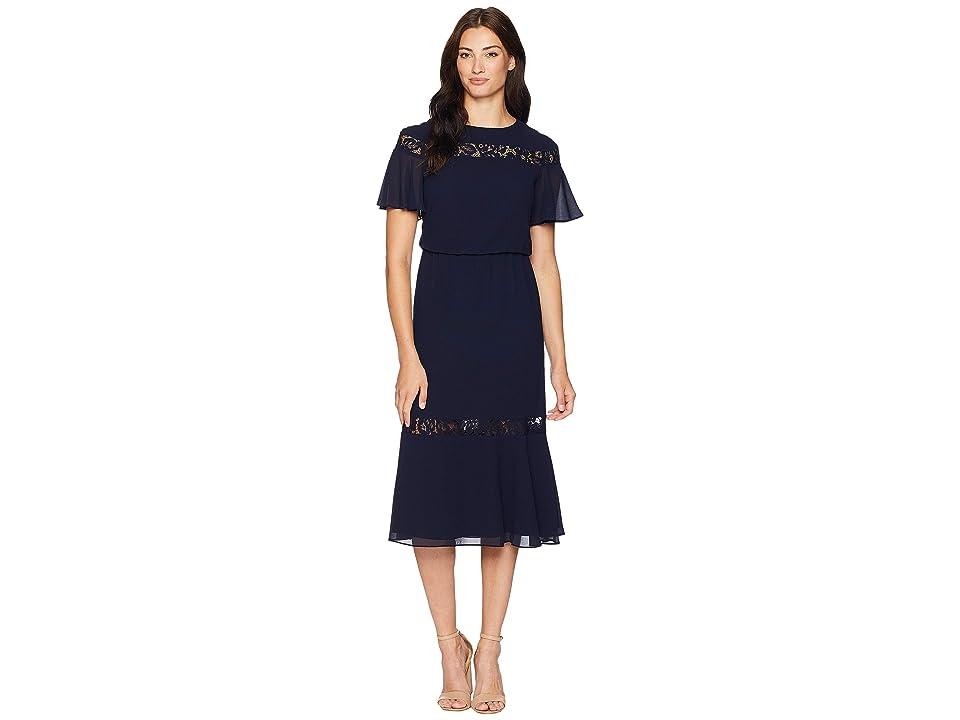 LAUREN Ralph Lauren Sharma Pebble Chiffon Elbow Sleeve-Day Dress (Lighthouse Navy) Women