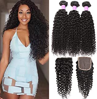 Flady Brazilian Kinkys Curly Hair Bundles with Closure 18 20 22+16inch 10A Unprocessed Brazilian Virgin Hair 3 Bundles with Free Part Closure Natural Black Human Hair Bundles With Closure