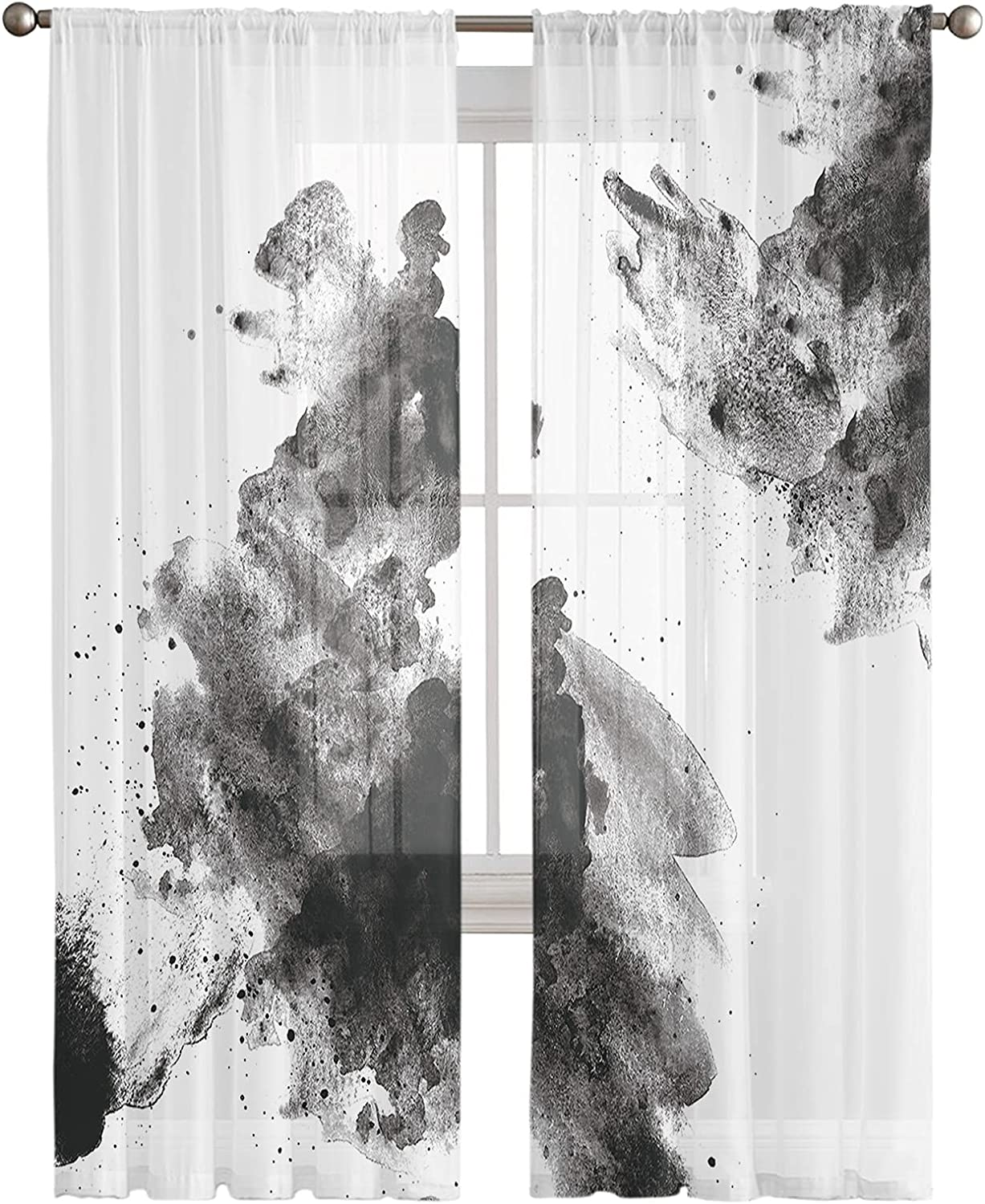 Voile Sheer Curtains 84inch Many popular Seasonal Wrap Introduction brands Long 2 White Black Ink Panels Art