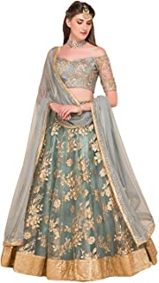 b9e5abf709 Smit fashion women's Embroidered grey colour Semi Stitched lehengas,  lehenga choli(ULT_3_Free_Size)