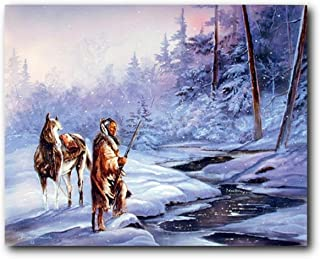 Native American Indian Horse Shadow Snow Forest Wall Decor Art Print Poster (16x20)