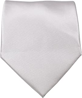 "Mens Solid Color Formal Tie Wedding Necktie 3.5"" Satin Finish (Silver)"