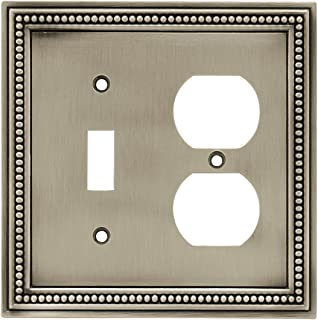 Brainerd 64766 Beaded Single Toggle Switch/Duplex Outlet Wall Plate / Switch Plate / Cover, Brushed Satin Pewter