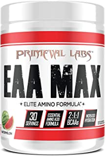 Primeval Labs EAA Max, Amino Acid Supplements, BCAAs, EAAs, Electrolytes, Enhances Performance, Supports Hydration, Improves Metabolism, Watermelon, 30 Servings