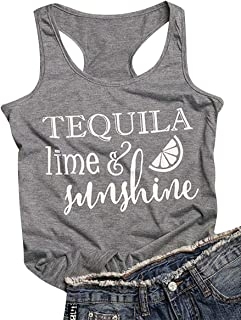 Tequila Lime and Sunshine Racerback Tank Top Women Summer Vacation Life Shirt Top Sleeveless Drinking Vest Tee
