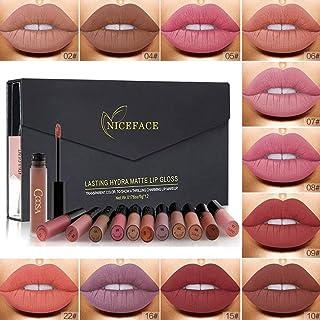 RICHOOSE - Juego de brillos labiales mate 12 colores de larga duración para mujer