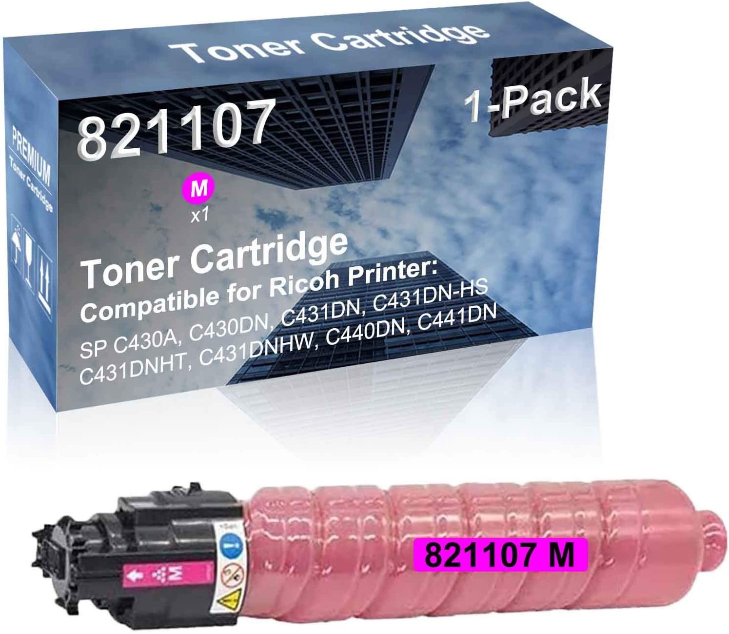 1-Pack (Magenta) Compatible SP C431DN-HS, SP C431DNHT, SP C431DNHW Printer Toner Cartridge High Capacity Replacement for Ricoh 821107 Toner Cartridge