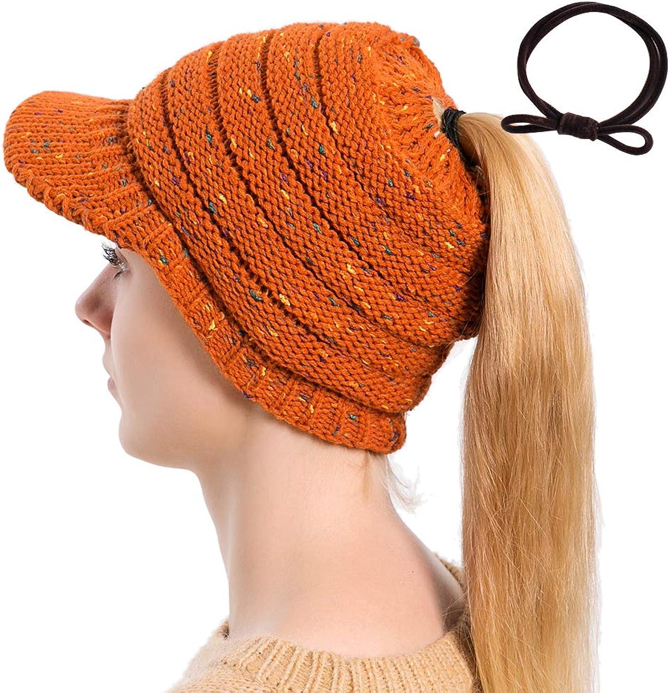 Leucos Ticte Beanie Women Knit Cap High Bun Ponytail Knitted Visor Beanie Warm Soft Stretch Hat Toque