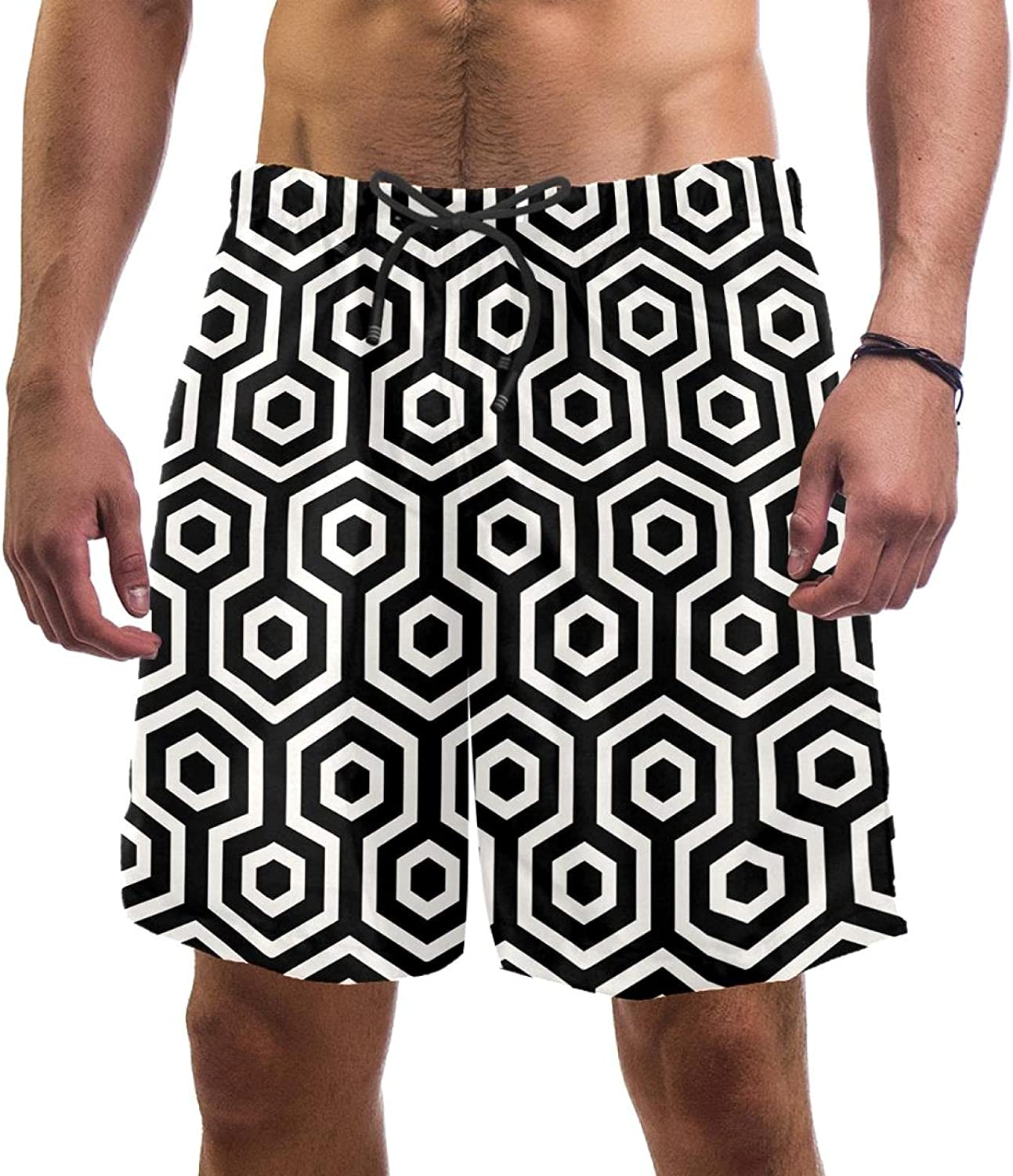 Wanlipous Men's Beach Shorts Black Super sale period Max 42% OFF limited Swi Quick Pattern Hexagon Dry