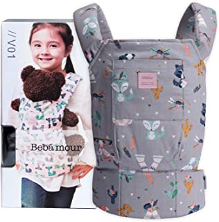 Bebamour Baby Doll Carrier for Kids Front and Back Carrier Original Cotton Baby Carrier for Doll for Boys & Girls(Grey Ani...