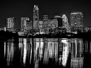 Austin Skyline Photo Print UNFRAMED Night Black & White BW City Downtown 18 inches x 24 inches Photographic Panorama Poster Picture Standard Size