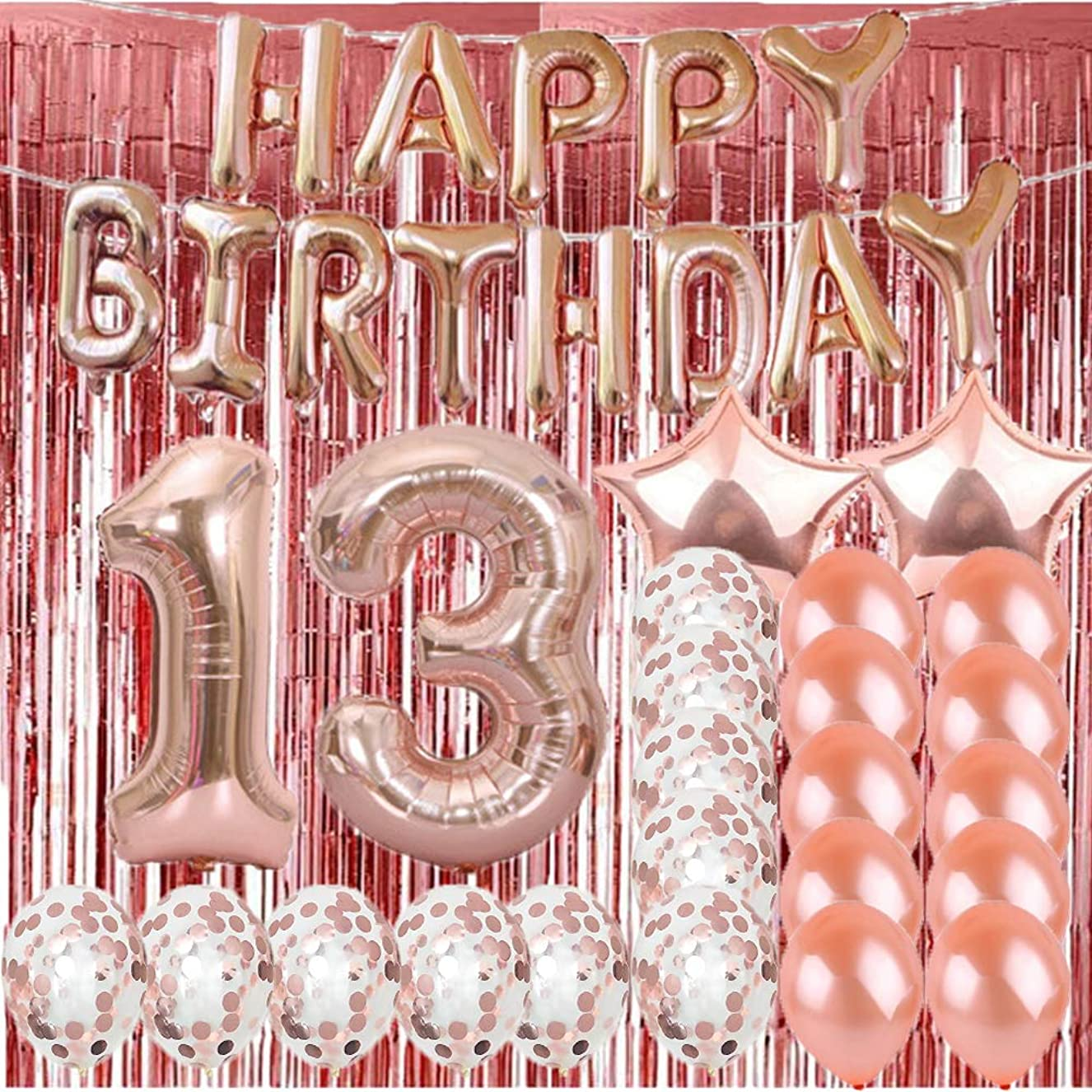 Sweet 13th Birthday Decorations Party Supplies,Rose Gold Number 13 Balloons,13th Mylar Balloons Rose Gold Foil Fringe Curtains Photo Backdrop Great 13th Birthday Gifts for Girls,Women,Men,Photo Props fiintirghl6536