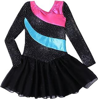 Kidsparadisy Mädchen Ballett Tanz Tutu Röcke/Kleid ärmellos Regenbogen Streifen Pailletten Tüll Rock Gymnastik Trikot Tanzbekleidung für 2-11Y Mädchen