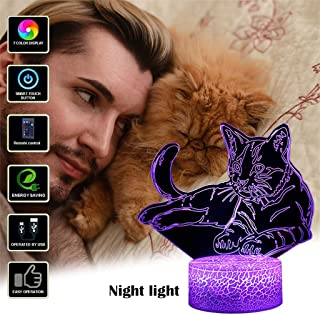 Pet Cat 3D Illusion Lamp, 7 Colors Changing Optical Illusion Touch Control Night Light with Remote and USB Charging, Great Kids Gifts Home Decoration