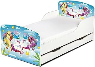 Leomark Moderne Lit d'enfant Toddler avec Matelas et Un Tiroir Couleur Blanc Motif: Pony Chambre pour Les Enfants Meubles ...