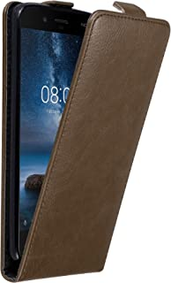 Cadorabo Case Works with Nokia 8 2017 in Coffee Brown – Flip Style Case with Invisible Magnetic Closure – Wallet Etui Cover Pouch PU Leather Flip