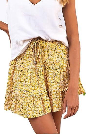 cute boho skirts yellow short skirt