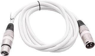 vhbw DMX-kabel, 2 m, XLR stekker op XLR bus, 3-polig, PVC kabelmantel, wit geschikt voor verlichting, varkentlicht, podium...