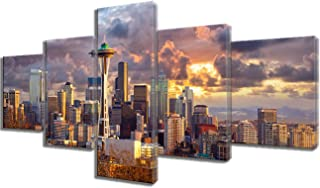 Framed Artwork Modern Art Work Seattle Skyline at Sunset, WA, USA Pictures for Living Room 5 Piece Canvas Wall Art Painting Home Decor Giclee Gallery-wrapped Stretched Ready to Hang(50''Wx24''H)