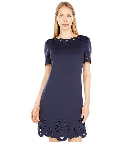 Badgley Mischka Laser Cut Short Sleeve Day Dress