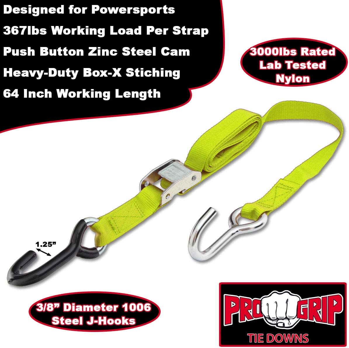 Blue Progrip Powersports Motorcycle Tie Down Straps Lab Tested 4 Pack