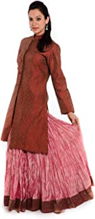 Geroo Jaipur Women's Brocade Long Embroidered Jacket with Raw Silk Long Skirt Dress (Free Size, Pink & Red)