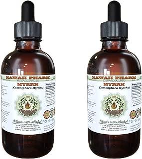 Myrrh Alcohol-FREE Liquid Extract, Organic Myrrh (Commiphora myrrha) Gum Resin Glycerite Natural Herbal Supplement, Hawaii Pharm, USA 2x2 fl.oz
