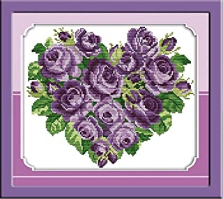 CaptainCrafts New Cross Stitch Kits Patterns Embroidery Kit - Rose Heart Purple (STAMPED)