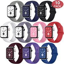 EXCHAR Sport Band Compatible with Apple Watch Band 40mm 38mm 44mm 42mm, Soft Silicone Strap, Replacement Wristband for iWatch Band Series 4, Series 3, 2, 1, Durable Colorful Design for Women, Men