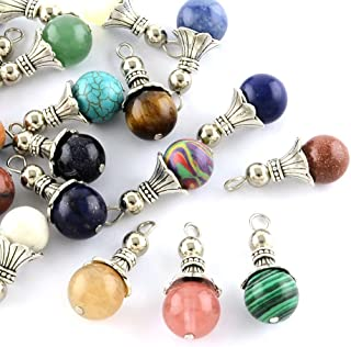 Kissitty 50-Piece Natural & Synthetic Dangle Gemstone Charms 1.16x0.49