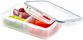 LocknLock HPL816C Airtight Food Storage Container with Removable Divider, 3.38 Cup, Rectangle, Plastic