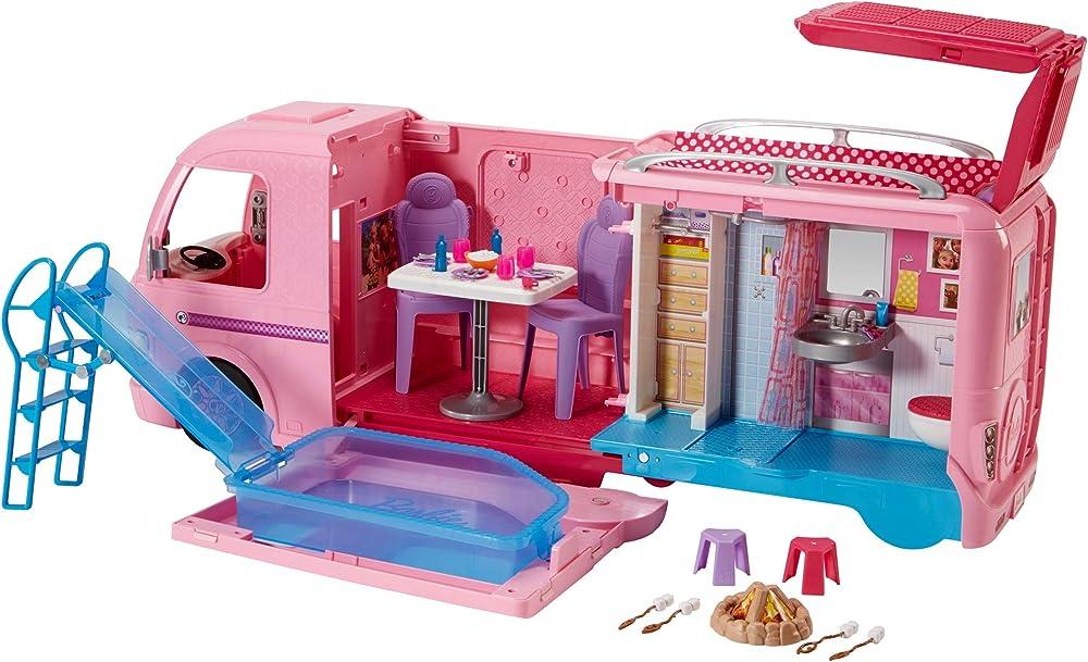 Barbie fbr34 camper dei sogni per bambole con piscina, bagno, cucina e tanti accessori, giocattolo per bambini