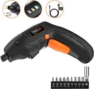 Electric Screwdriver, TACKLIFE Cordless Screwdriver Rechargeable Rubber Pivoting Handle with 10 Pcs Bonus Screw Bits for Home DIY and Fit for Ladies, Newbies and Experienced, Front LED Light-SDP60DC