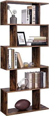 VASAGLE Wooden Bookcase, Display Shelf and Room Divider, Freestanding Decorative Storage Shelving, 5-Tier Bookshelf, Rustic B