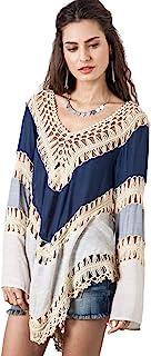 Vanbuy Women's Boho V Neck Crochet Tunic Tops Blouse Shirt Hollow Out Beach Swimsuit Cover up