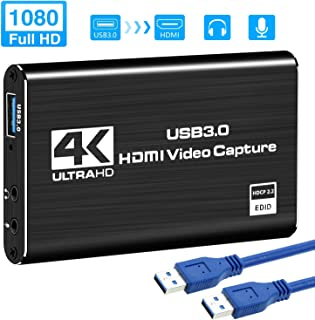 Kedok 4K Audio Video Capture Card, USB 3.0 HDMI Video Capture Device, Full HD 1080P 60FPS for Game Recording, Live Streaming Broadcasting