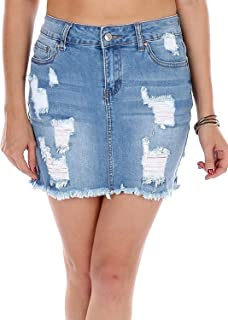 Wax Women's Juniors Vintage Casual Distressed A-Line Denim Short Skirt