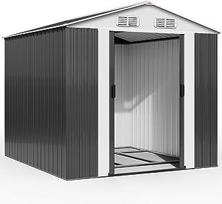 Abri de jardin en métal - 14,65 m³ - Cabane/Remise de jardin - Rangement vélos/outils - Gris