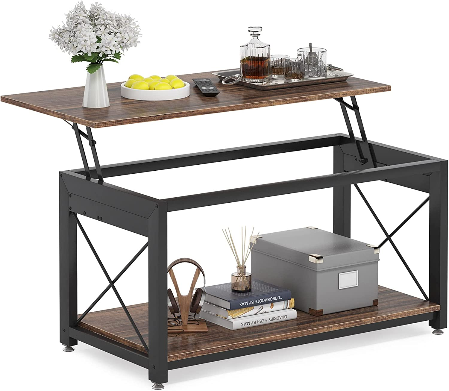 Tribesigns Super-cheap Coffee Table Inexpensive Lift Top Industrial X Work 2-Tier