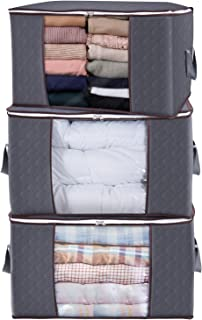 Best Lifewit Large Capacity Clothes Storage Bag Organizer with Reinforced Handle Thick Fabric for Comforters, Blankets, Bedding, Foldable with Sturdy Zipper, Clear Window, 3 Pack, 90L, Grey Review