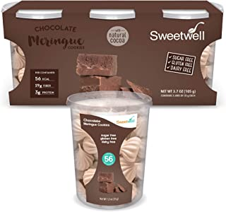 Sweetwell - Sugar Free - Gluten Free - Fat Free - Dairy Free - Superior Taste Healthy Snacks with Low Glycemic Index - Meringues - 1.23 oz - Pack of 3 (Chocolate)